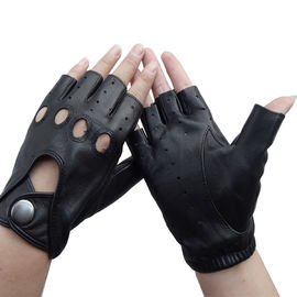 Custom Leather Cycling Gloves , Fingerless Driving Gloves Eco - Friendly